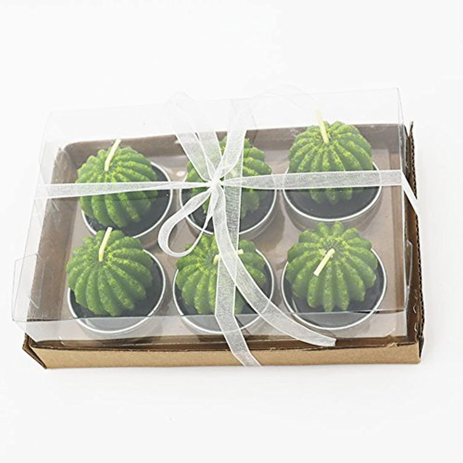エコーバレーボール認識Liebeye キャンドル 多肉植物スモークフリーのクリエイティブなキャンドル100%自然のワックスかわいい模造植物フルーツの形状低温キャンドル 6個/箱 妖精のボール箱
