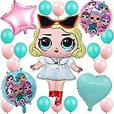 誕生日パーティー飾り付け Lolサプライズ 人形 女 バルーン 風船 ゲーム 面白い 誕生日 ベビーシャワー 女子会 部屋 ピンク ブルー ハートスター 可愛い おしゃれ お祝い イベント 38枚セット