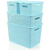 YI LU Deng JU- プラスチック製の収納ボックス、籐製の中空衣類収納バスケット、収納バスケット、デスクトップ仕上げボックス、収納ボックス (色 : Blue)