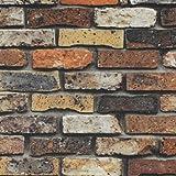生のり付き壁紙 ナチュラルなレンガ柄セレクション/ルノン HOMEホーム (販売単位1m) RH-9392