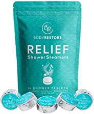 BodyRestore Shower Steamers (Pack of 15) Gifts for Women and Men - Eucalyptus & Peppermint Essential Oil S