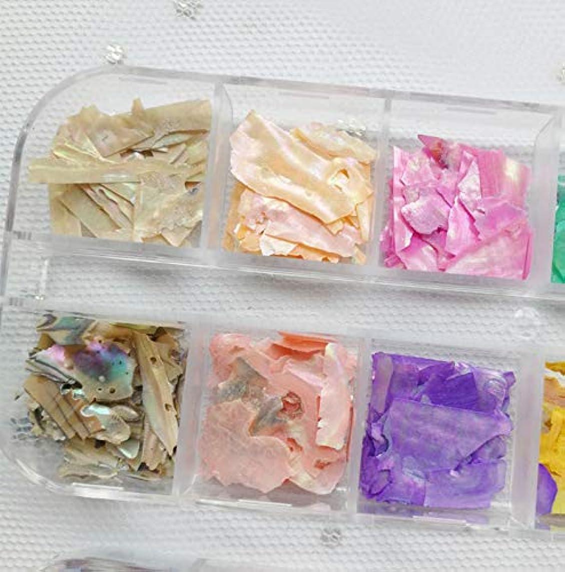 腐食する間違えた生活シェルフレーク 夏ネイル用 貝殻片 ネイルアート ネイルパーツ ネイルアクセサリー 天然 可愛い カラー 超薄 12色/セット ケース付き