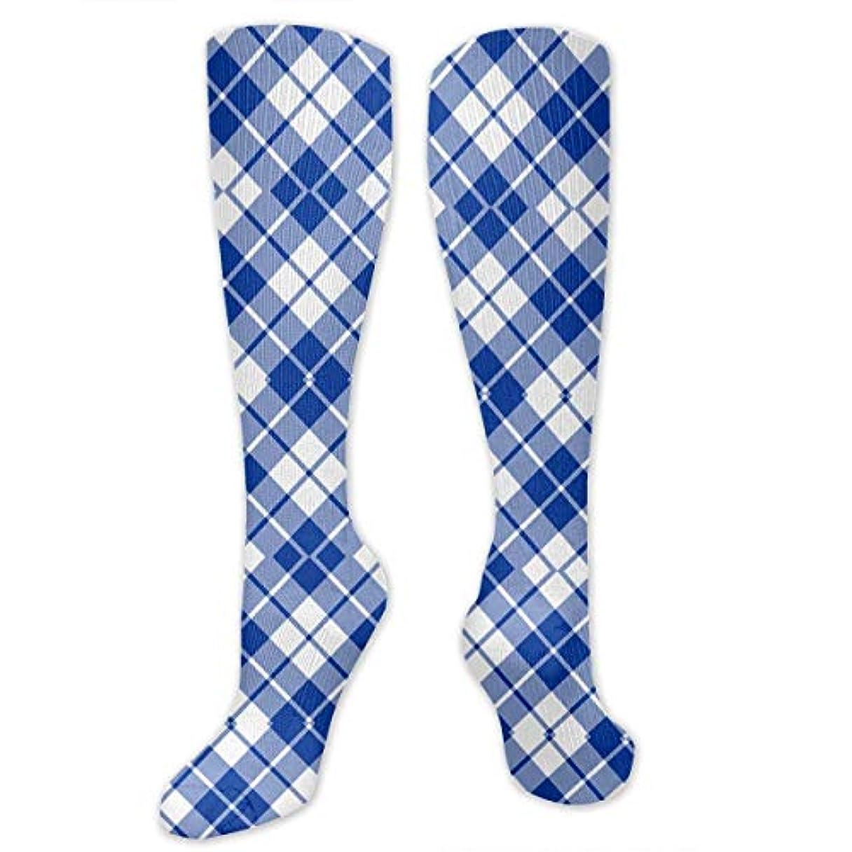 剥離深める幻滅靴下,ストッキング,野生のジョーカー,実際,秋の本質,冬必須,サマーウェア&RBXAA Blue and White Diagonal Tartan Socks Women's Winter Cotton Long Tube...