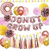 ドーナツパーティー用品 – ドーナツ型グローアップバルーンバナー ローズゴールド 18ラテックスバルーン ピンクローズゴールド イエローティッシュポンポン ペーパーフラワー ベビーシャワー ドーナツの誕生パーティーデコレーション用