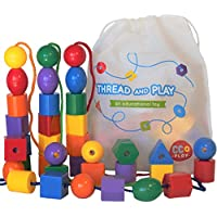 CC O Play Large Lacing Bead Set for Kids – 36ジャンボビーズ& 4スレッドfor Toddlers – モンテッソーリ教育Stringing Toy for Preschool子 – ボーナスバッグ& eBook with primaryリソース