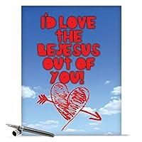 Love the Bejesus Valentine 's Day Funny Greeting Card 1 Jumbo Valentine's Day Card & Enve. (J2165)
