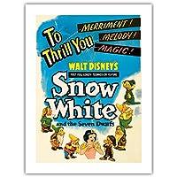 ウォルト・ディズニー:「白雪姫」 - スリル!喜び!メロディ!マジック! - ビンテージなフィルム映画のポスター c.1937 -プレミアム290gsmジークレーアートプリント - 46cm x 61cm