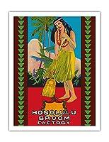 ホノルル ほうき工場 - ハワイアンフラガール - ビンテージな広告ポスター c.1950s - アートポスター - 51cm x 66cm