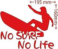 カッティングステッカー No Surf No Life (サーフィン)・9 約160mm×約195mm レッド 赤