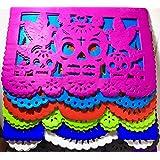 "50 Frontales pack Altar de Ofrendas Supplies Kit Dia de Muertos""Day of the Dead"" Decoration Colorful Medium Size Tissue Paper Mexican Papel Picado Sheets."