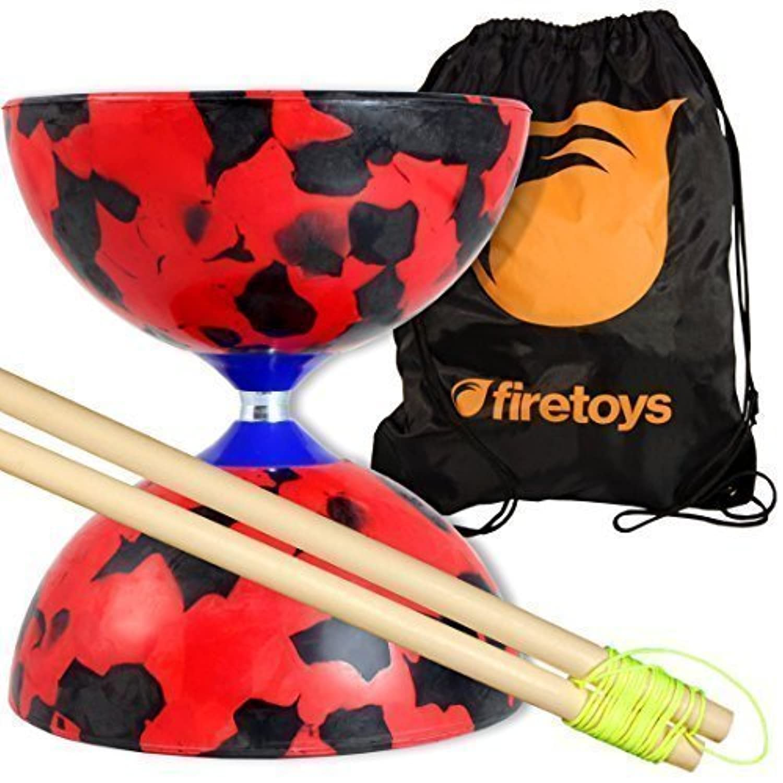 Jester Medium Diabolo (R/Bk) with Firetoys Wooden Diablo Sticks (incl string) & FT Bag by Firetoys Diabolo [並行輸入品]