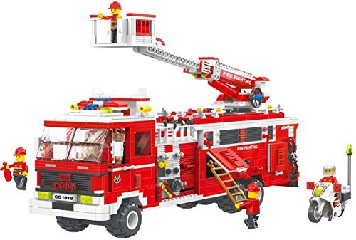 Fire House - Extensive 1395 pcs 2 in 1 building blocks Fire-Fighting Vehicle set, transforms into truck, with action rescue ladder, fire-men & biker - thrill 6+ fire fighter in Lego compatible parts [並行輸入品]