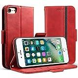 iPhone5s ケース 手帳型 iPhone5 iPhone se - Rssviss サイドマグネット カード収納 横置き機能 ストラップ通し穴 高級PUレザー (iPhone5/5s/se) W5 レッド