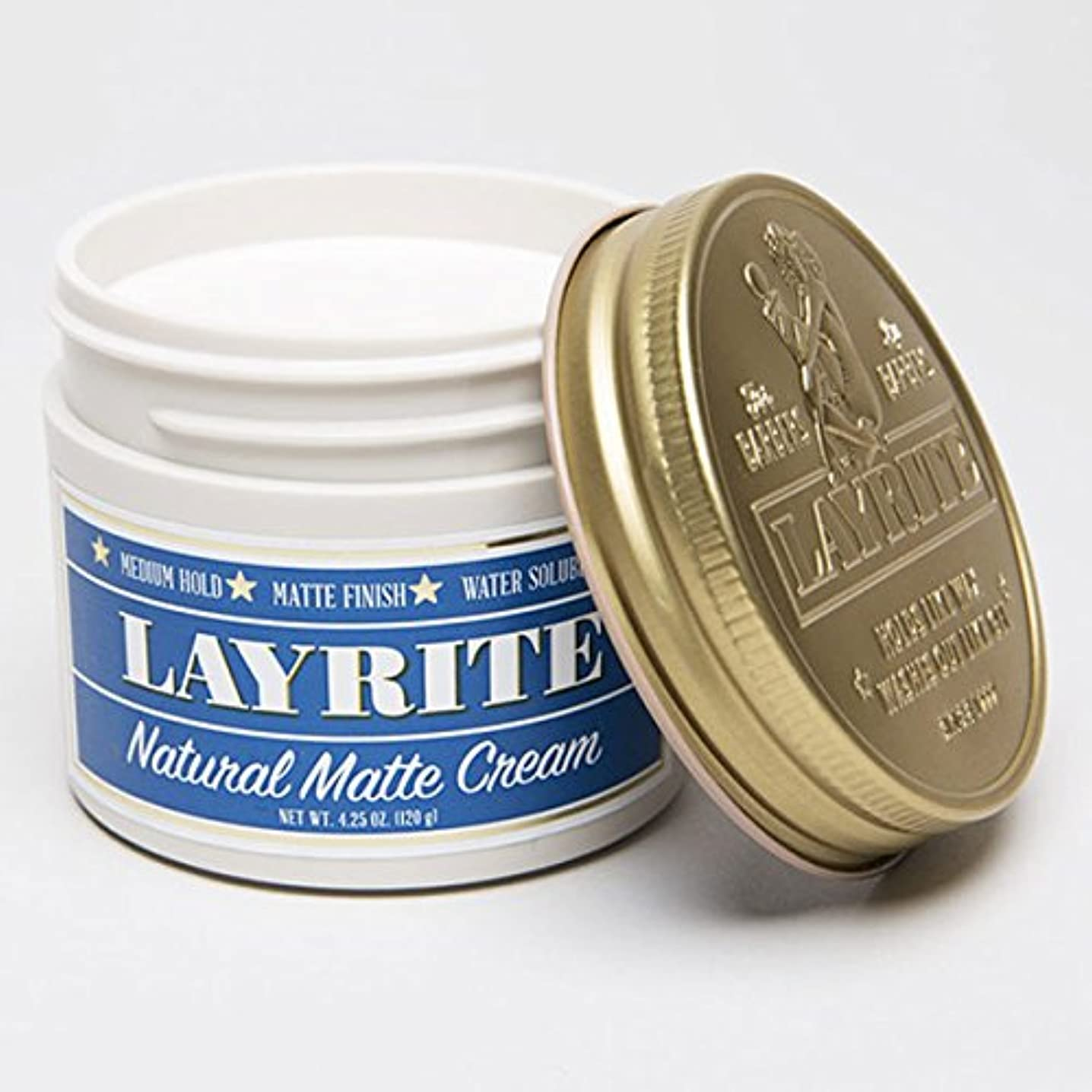 厳密にする小麦粉LAYRITE レイライト 【Natural Matte Cream Pomade】 水性ポマード ミディアムホールド 4.25OZ(約120G)