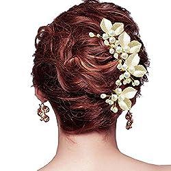 My Topaz ゴールド 葉っぱ モチーフ かわいい 髪 飾り ヘア アクセ パール Uピン ヘア ピン コーム セット 結婚 パーティ ドレス 着物