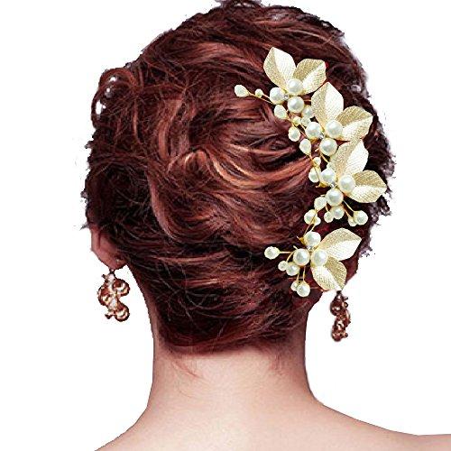 My Topaz ゴールド 葉っぱ モチーフ かわいい 髪 飾り ヘア アクセ パール Uピン ヘア 結婚 パーティ ドレス 着物 ( 4個 セット )
