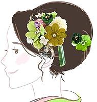 髪飾り かんざし大小2点セット フラワー kk-027 グリーン 緑 成人式 振袖 コーム型 浴衣 卒業式