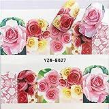 Yan 3個ネイルステッカーセットデカール水転写スライダーネイルアートデコレーション、色:YZWB027