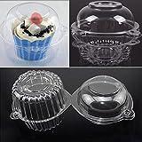 【ノーブランド品】PVC プラスチック 100個 カップケーキボックス ボウル ケーキ ケース マフィン ポッド ドーム コンテナ