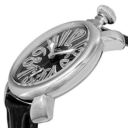 [ガガミラノ]GaGa MILANO 腕時計 マニュアーレ48mm ブラック文字盤  カーフ革ベルト 手巻き スイス製 5010.04S-BLK メンズ 【並行輸入品】