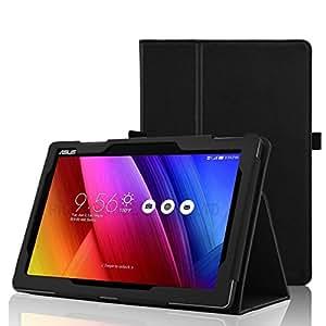 【rise】【3点セット液晶フィルム&タッチペン付】ZenPad 10 Z300C Z300CL ケース カバー オートスリープ機能付 マグネット開閉式 タッチペンホルダー付 良質PUレザーケース ブラック …