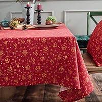 テーブルクロス長方形レッド、コットンリネンテーブルクロス抗菌抗しわテーブルクロス防水ビュッフェテーブルパーティーホリデーディナーファミリーキッチンクリスマス金色のテーブルクロスホリデー