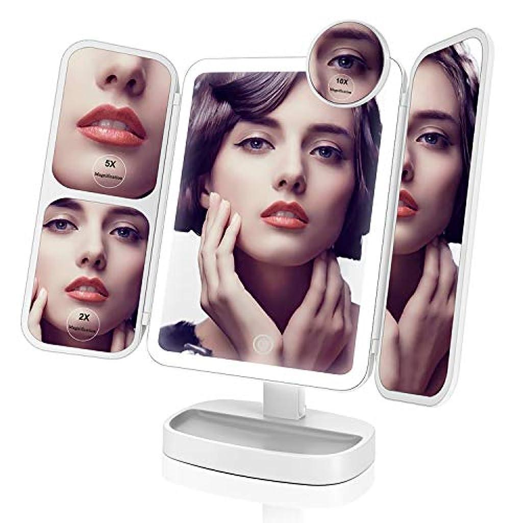 理解あざ緩めるEasehold 化粧鏡 三面鏡 化粧ミラー 卓上ミラー 鏡 led付き 折りたたみ 2&5&10倍拡大鏡付き 明るさ調節可能 180°回転 プレゼント(ホワイト)