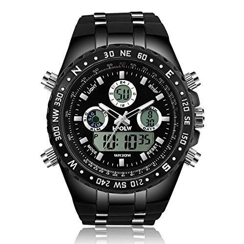 メンズ腕時計 多機能スポーツウォッチ DWG アナデジ表示 LEDバックライト付き 二つの時間帯 目覚まし時計 クロノグラフ 日本製クォーツ プレゼント最適 ブラック