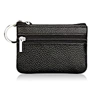 Genuine Leather Coin Purse, Mini Pouch Change Holder Zipper Wallet with Key Ring Keychain for Men and Women