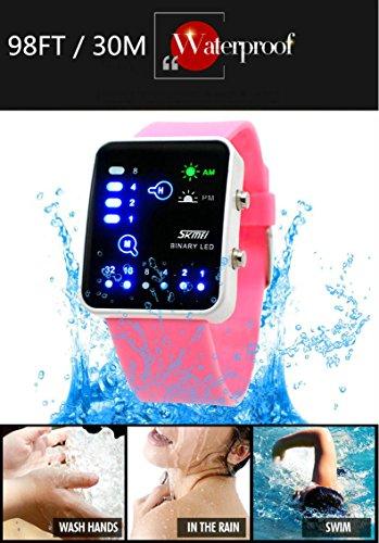 wutonyu & # 174;バイナリデジタルLED防水男の子女の子スポーツカジュアルWrist Watches (ダークブルー)