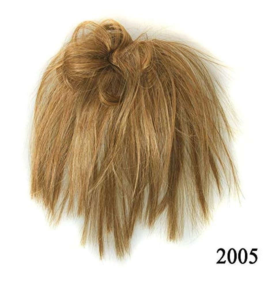 最後のブラシ突き刺すポニーテールドーナツシニョンアップリボンアクセサリー、乱雑なシュシュ毛の毛延長、女性のためのカーリー波状の作品