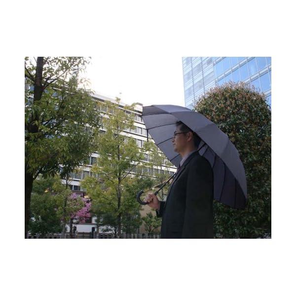 紳士傘 16本骨グラスファイバー ネイビーの紹介画像7