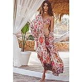 Yiteng 花プリントブラウスシャツ長袖着物女性のカーディガンエレガントな長袖夏のゆるいビーチカバーアウターウエア オレンジ XL