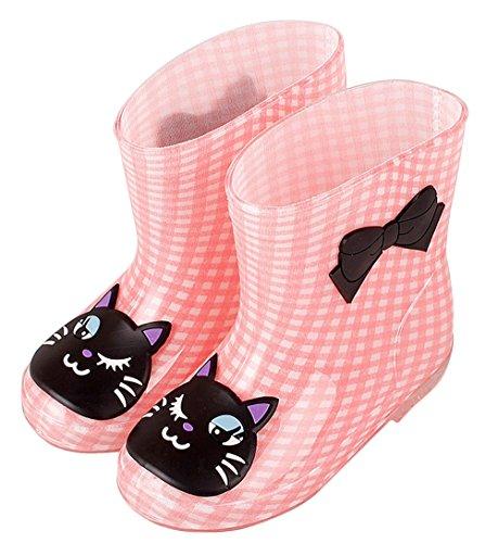 Plus Nao(プラスナオ) 子供用 長靴 レインブーツ レインシューズ 男の子 女の子 ベビー キッズ 猫 ウサギ カエル 雨具 15 16 17 18 19 15 猫チェック