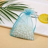 ギフト袋、100個 - 透明性とソフト巾着キャンディジュエリーバッグ、束ねメッシュ収納袋、パーティ/結婚式/クリスマスギフトバッグ、サイズ3、ブラック/ブルー/ピンク/パープル (Color : Blue, Size : 10*15CM)