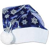 パーティーCentral Pack of 12メタリックブルーwithホワイトトリムと雪片クリスマスサンタ帽子