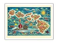 ハワイ諸島のドール地図 - ハワイアン・パイナップル・カンパニーから - ビンテージカラーの地図製作のマップ によって作成された ジョセフ・フェーヘル 1022 - アートポスター - 30.5cm x 41cm