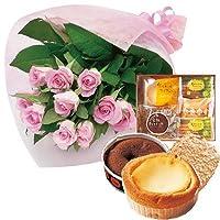 誕生日 お祝い の 花 お 花 と スイーツ おしゃれ ギフト セット エレガント ピンク バラ 花束 と フランスの香り漂うスイーツギフト メッセージカード 還暦祝い 結婚祝い 古希 喜寿 人気 プレゼント ランキング ギフト 女性 母 親 おばあちゃん へ 贈る (SE)