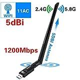 WiFi USB アダプタ,Elekele® 1200Mbps 5dbi USB WiFi 無線LAN 子機 アダプタ ハイパワー アンテナ 高速安定通信接続 データ伝送 IEEE802.11a/b/g & 802.11n & 802.11ac 親機 子機デュアルバンド アダプタ(2.4GHZ/300Mbps+5GHZ/866Mbps)WPS機能で簡単接続Windows XP/Vista/7/8/8.1/10,Linux 2.6 or above, Mac OS X 10.6/10.7/10.8/10.9/10.10/10.11/10.12 対応 ワイヤレスWiFi子機 (ハイパワー アンテナ) (1200Mbps)