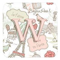 Caroline 's Treasures cj2002-wfc文字W Love in ParisピンクFoam Coasters ( Set of 4)、3.5インチ、マルチカラー
