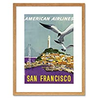 Travel American Airline San Francisco Golden Gate Picture Framed Wall Art Print 旅行アメリカ人航空会社ゴールデン画像壁