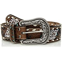 Nocona Belt Co. Women's Painted Flower Buck Turquoise Inlay Belt
