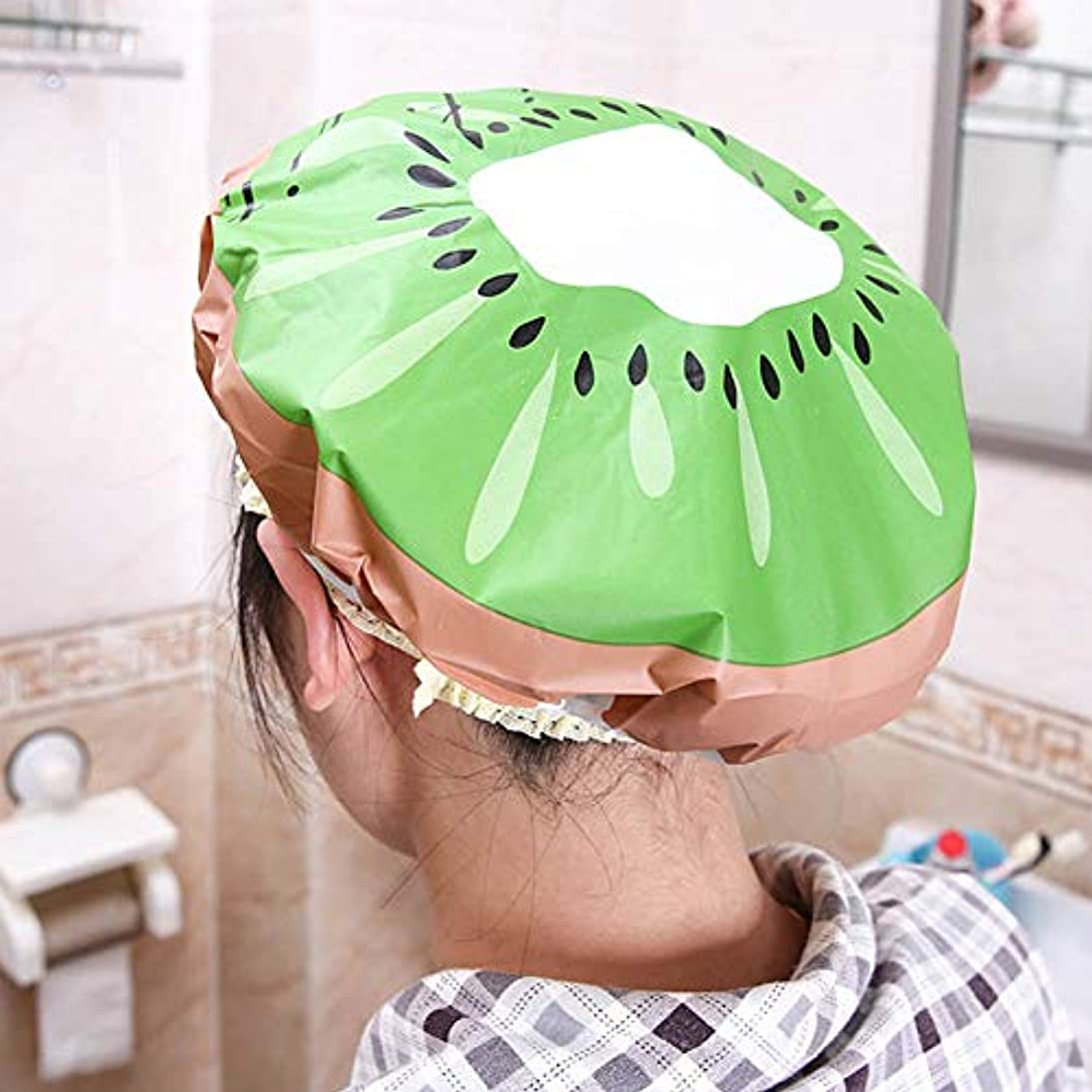 拒絶なに着飾るLULAA シャワーキャップ ヘアキャップ シャワー 洗顔 入浴 お風呂 プール 銭湯用 髪を染める 美容室 バス用品 フルーツのデザイン 可愛い