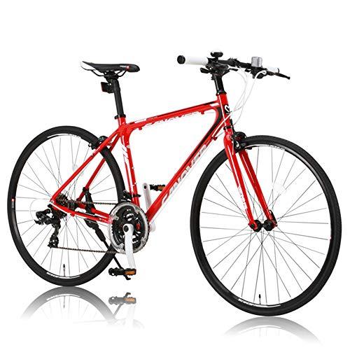 CANOVER(カノーバー) クロスバイク 700C シマノ21段変速 CAC-021 (VENUS 470mm) 特殊加工 アルミフレーム フロントLEDライト付 レッド