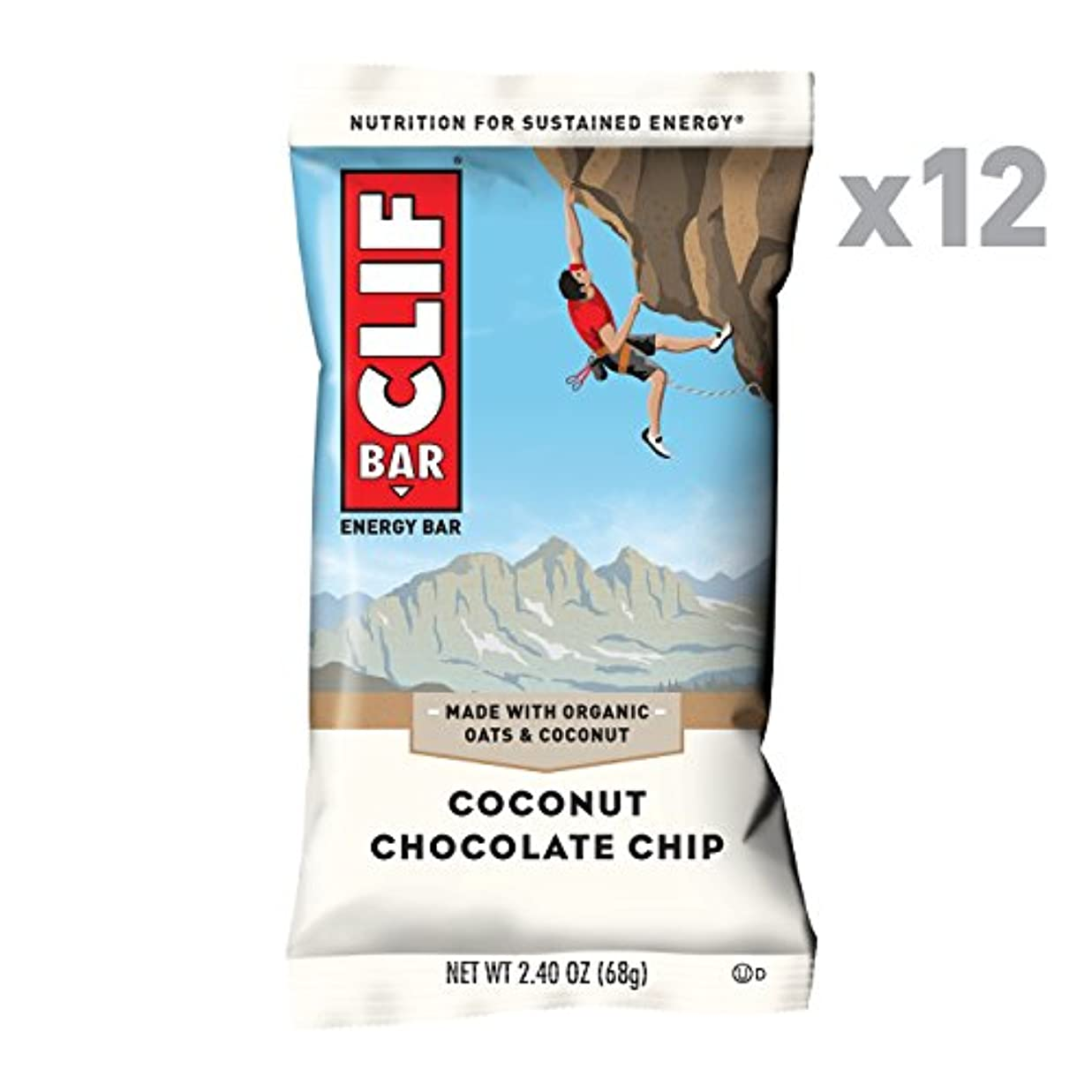 出撃者もちろんバタークリフバー、オーガニック、ココナッツチョコレートチップ、12/2.4オズ