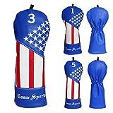 CRAFTSMAN(クラフトマン)Shining Star 星の輝き刺繍 ゴルフヘッドカバー レザー製 FW用 ブルー (星の輝き刺繍#3)