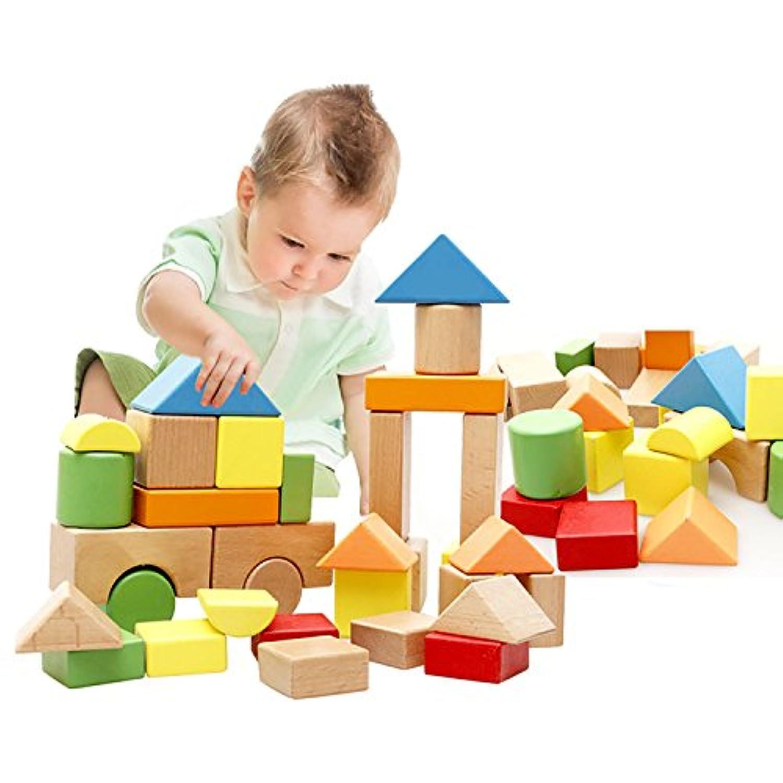 Lewo 木製ブロックセット 大型 組み立て 構築 積み木 ボードゲーム 32 ピース