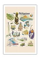 フィリピン - カンタス航空 - ビンテージな世界旅行のポスター c.1962 - アートポスター - 76cm x 112cm