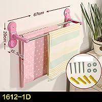 バスルームタオルバー、穿孔ラック、吸盤ラック、創造的なバスルームタオルラック ( 色 : ピンク ぴんく , サイズ さいず : 67*15.5*20cm )