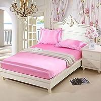 A Sunflower 3点寝具セットフルクイーンsize- 1フィットシーツ、ピローケース2枚 フル ピンク